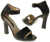 Womens Ladies Elisabeth Black Faux Leather High Heels Thumbnail 6