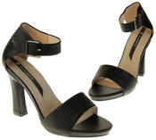 Womens Ladies Elisabeth Black Faux Leather High Heels Thumbnail 7