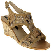 Womens Ladies Elisabeth Faux Leather Leopard Print Wedged Sandals Thumbnail 2