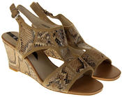 Womens Ladies Elisabeth Faux Leather Leopard Print Wedged Sandals Thumbnail 5