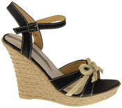 Womens Ladies Elisabeth Bow Design Wedged Fashion Sandals Thumbnail 3