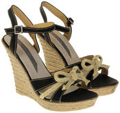 Womens Ladies Elisabeth Bow Design Wedged Fashion Sandals Thumbnail 5
