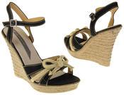Womens Ladies Elisabeth Bow Design Wedged Fashion Sandals Thumbnail 6