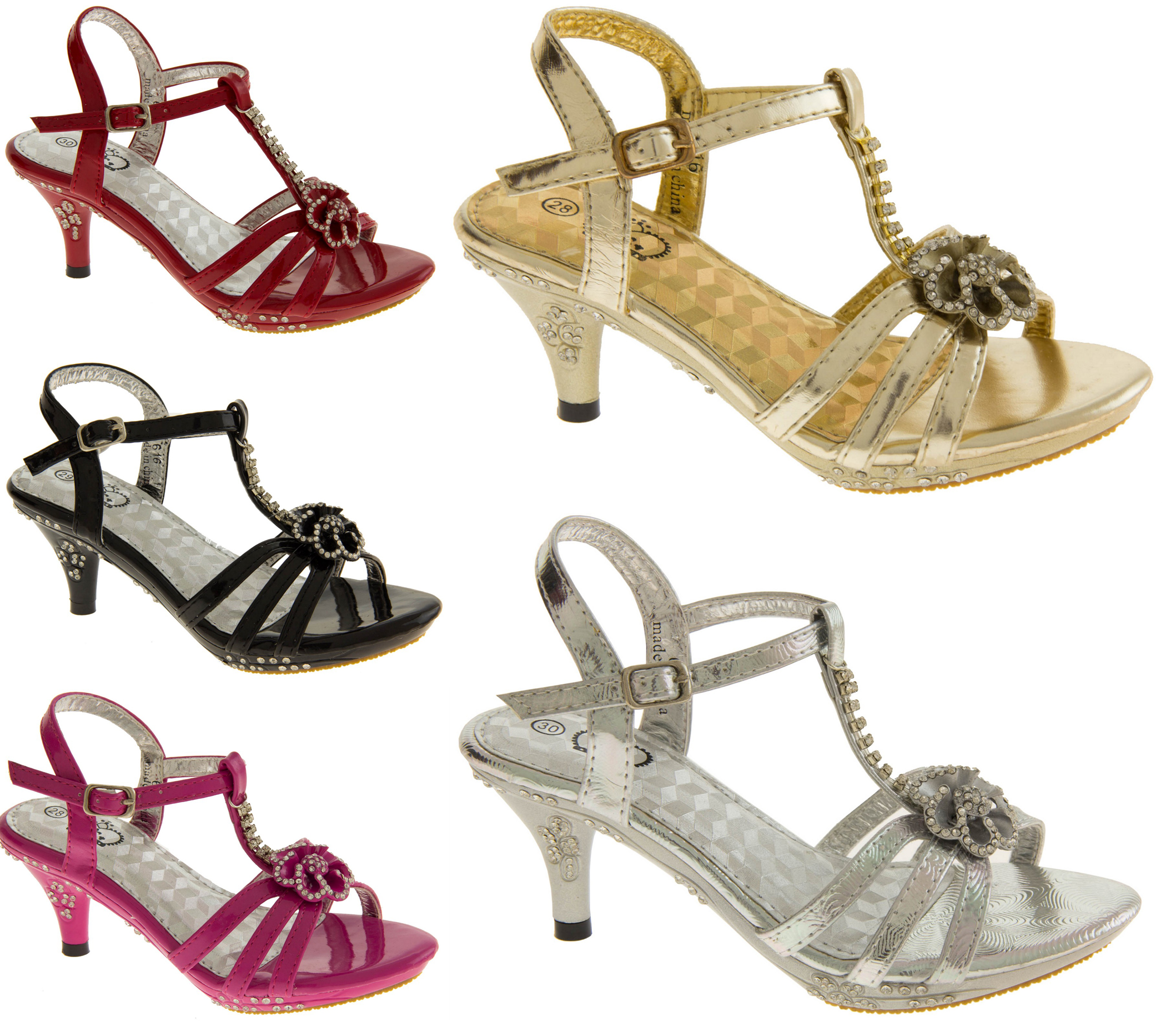New Girls Toddlers Diamante Kitten Heel Wedding Party Heels Size 8 9 10 11 12 13