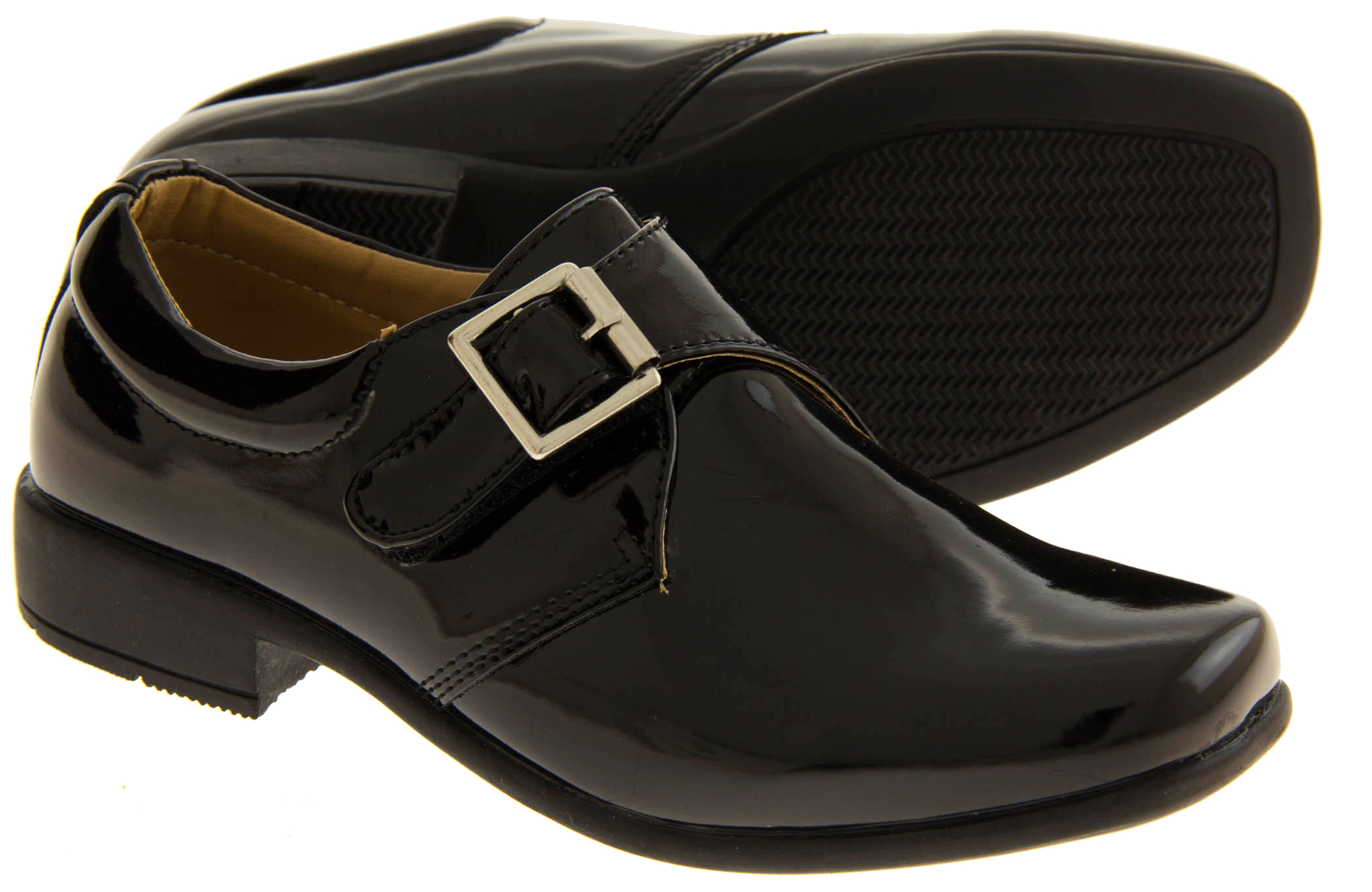 797ff506508d Sentinel NEW Young Boys Black Patent Matt Monk Formal School Party Shoes Sz  Size 10 11 12