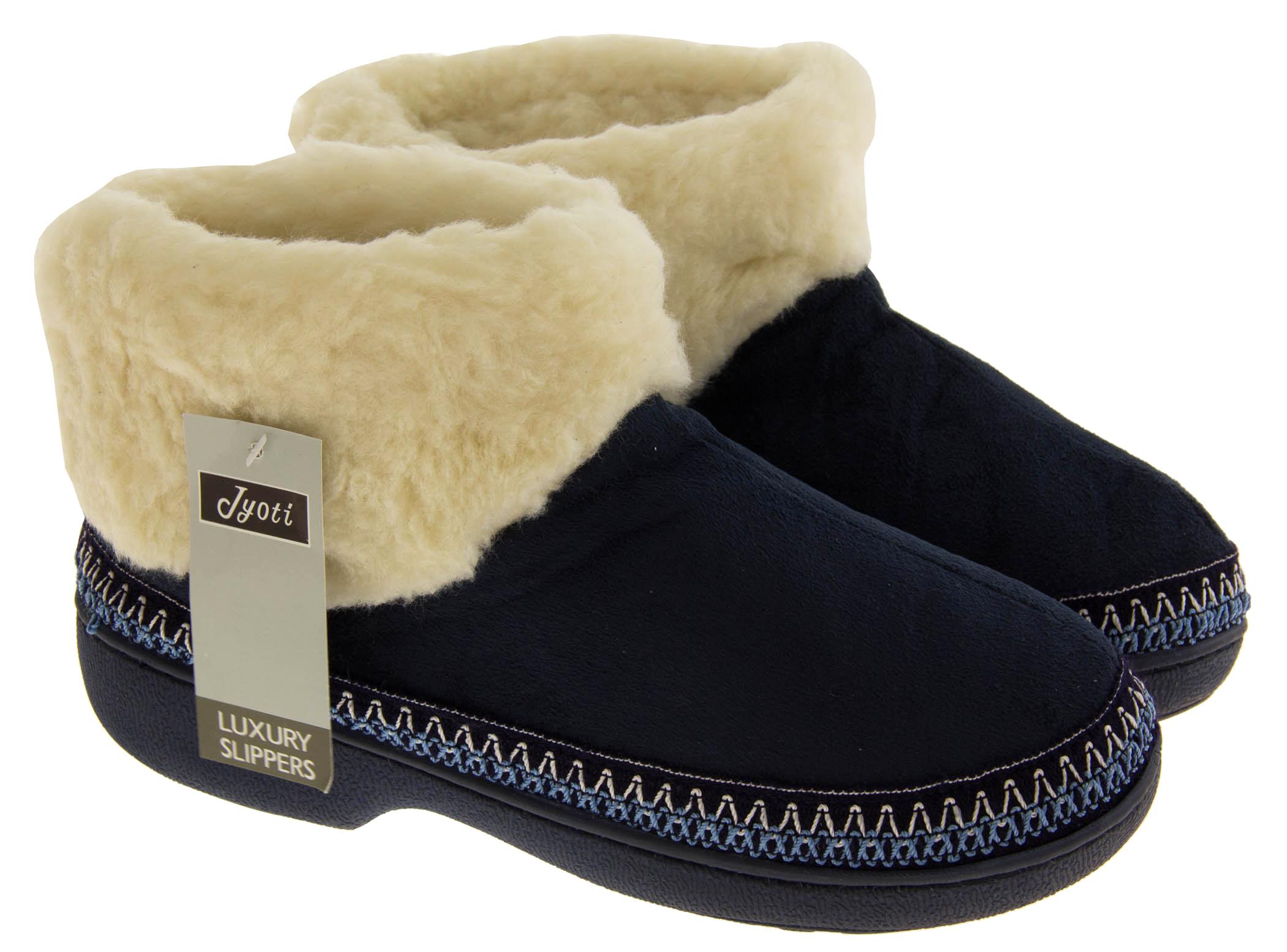 Ladies Womens Flat Ankle Slipper Boots Pom pom Snow Grey Warm Winter Fur Lined 3 4 5 6 7 8
