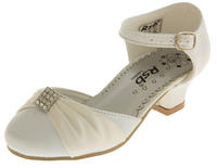 Girls Satin Diamante Wedding Party Shoes Thumbnail 11