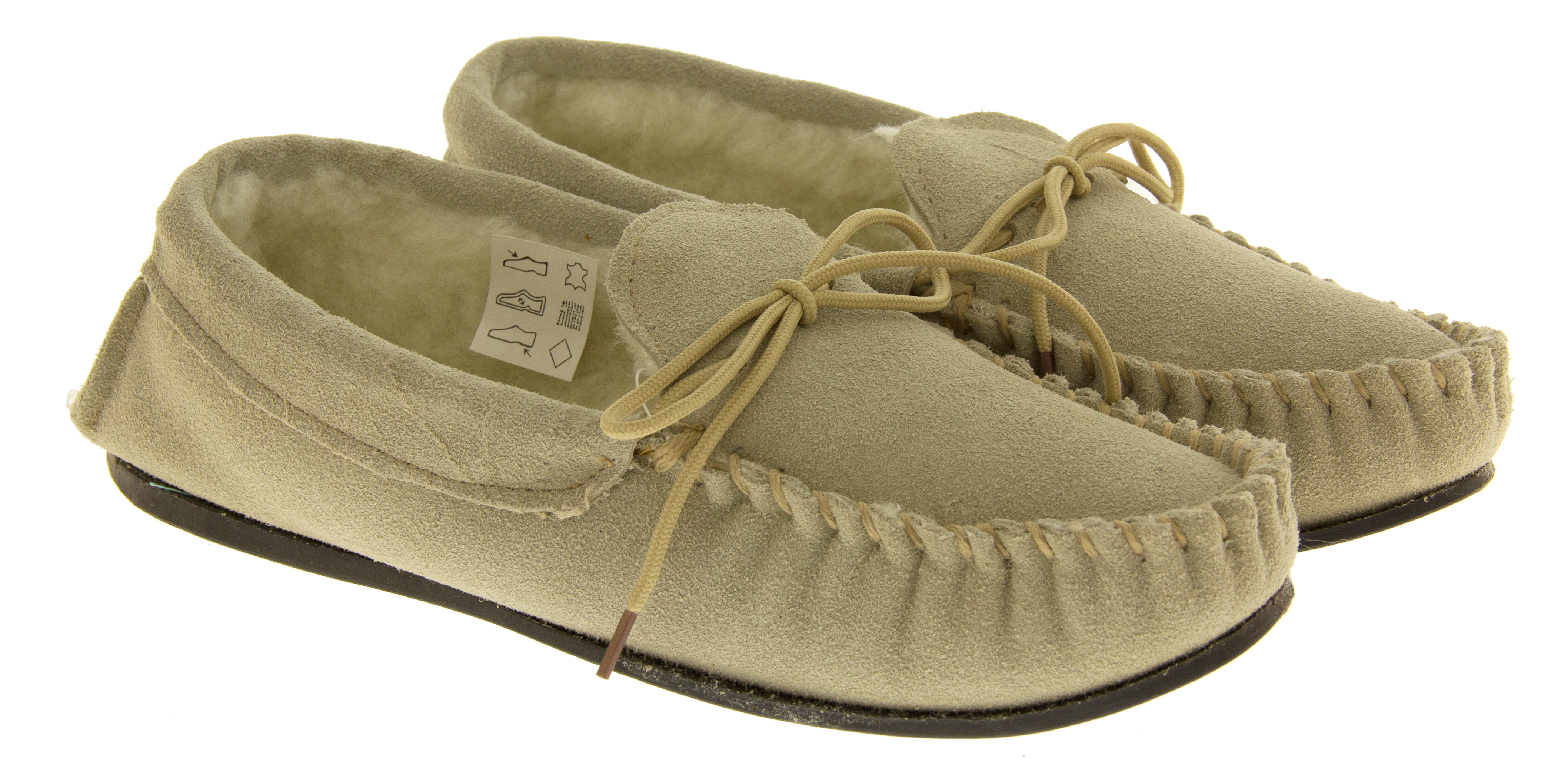 Womens Beige Suede Leather Moccasins Real Wool Shoe
