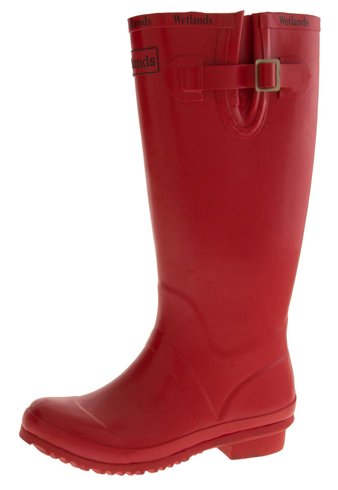 Womens WETLANDS Red Knee High Wellington Boots