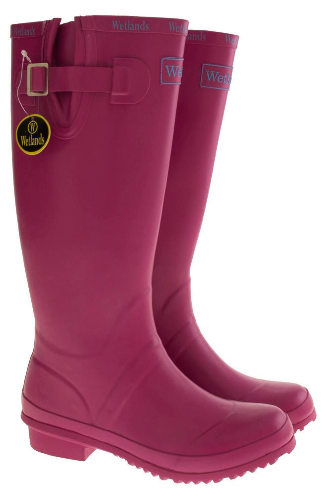 Womens Wetlands Pink Knee High Wellington Boots Womens