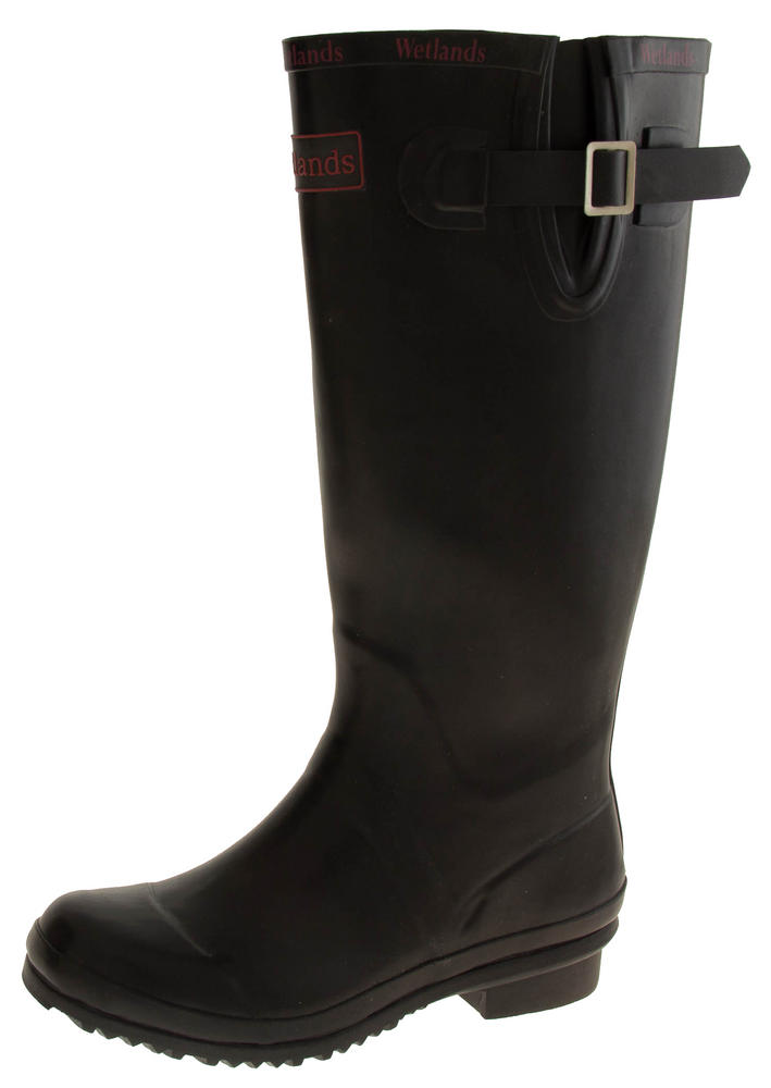 Womens WETLANDS Black Knee High Wellington Boots