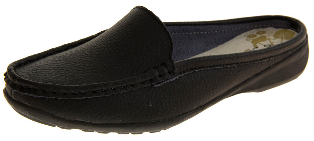 Womens COOLERS PREMIER Leather Slip On Moccasin Mules