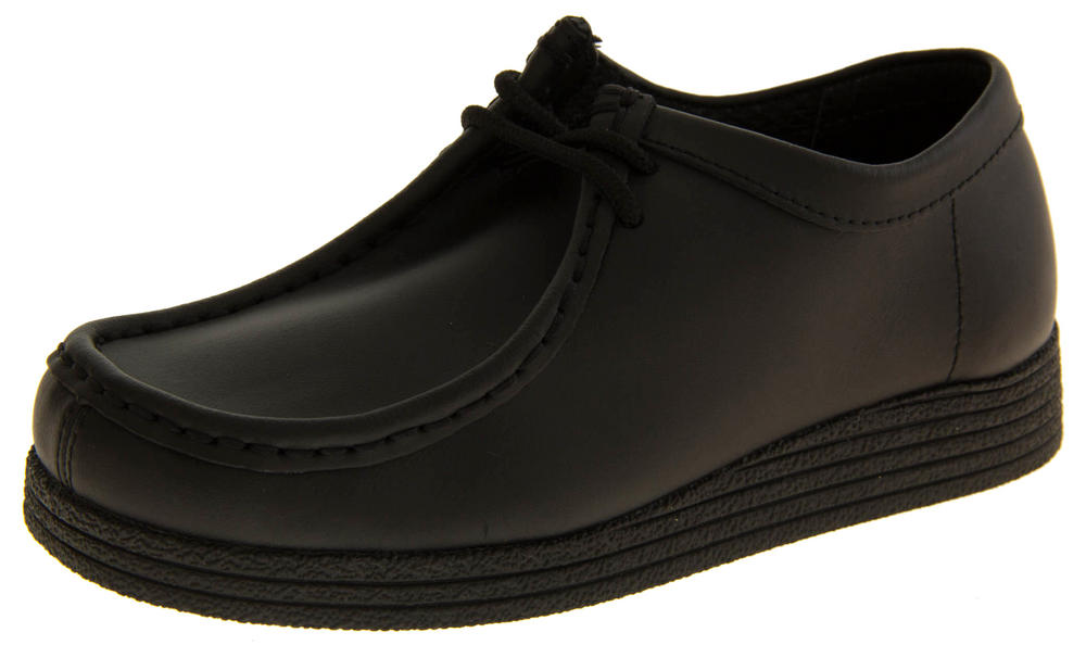 a63bfc9ea5f1 Boys Black Leather Lace Up Back To School Shoes
