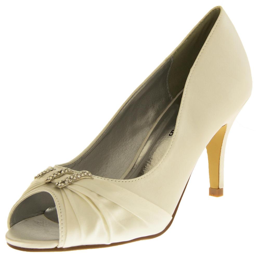 Ladies Satin Diamante Court Shoes Low Mid Heels