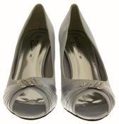 Ladies Satin Diamante Court Shoes Low Mid Heels Thumbnail 9