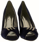 Ladies Satin Diamante Court Shoes Low Mid Heels Thumbnail 6