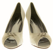 Ladies Satin Diamante Court Shoes Low Mid Heels Thumbnail 3
