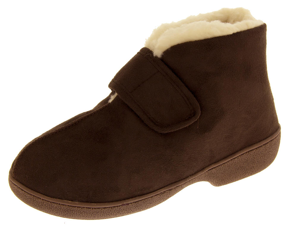 Ladies Boot Slippers Velcro Adjustable Warm Winter Faux