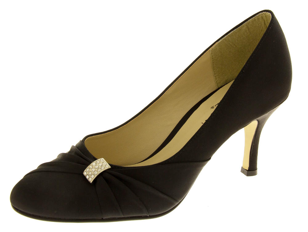 Womens Low Heel Satin Diamante Court Shoes