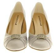 Ladies Satin Diamante Court Shoes Wedding Shoes Thumbnail 12