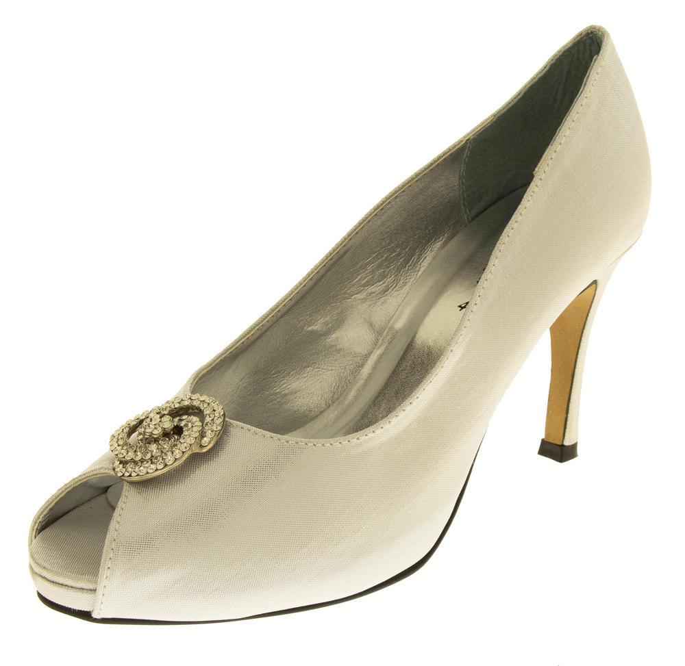 Ladies Low Heel Wedding Shoes Satin Diamante Peep Toe
