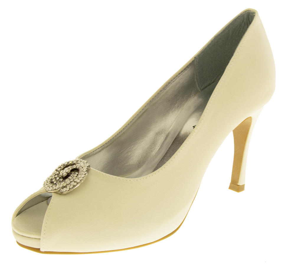 Ladies Low Heel Wedding Shoes Satin Diamante Peep Toe