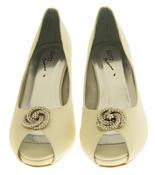 Ladies Low Heel Wedding Shoes Satin Diamante Peep toe Bridesmaid Court Shoes Thumbnail 7