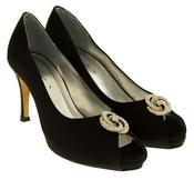 Ladies Low Heel Wedding Shoes Satin Diamante Peep toe Bridesmaid Court Shoes Thumbnail 2