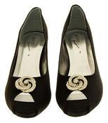 Ladies Low Heel Wedding Shoes Satin Diamante Peep toe Bridesmaid Court Shoes Thumbnail 3