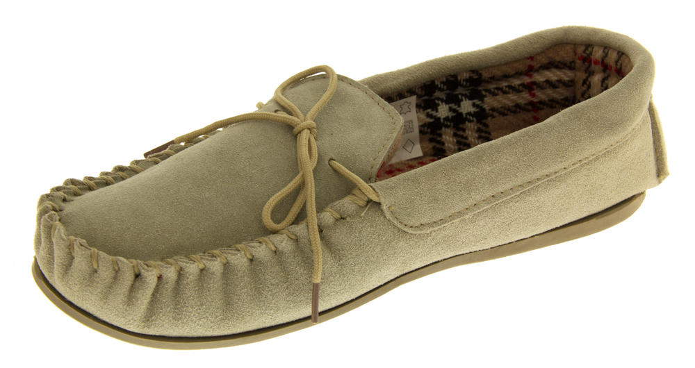 Ladies LODGEMOK SUEDE Tartan Lined Slippers