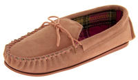 Ladies LODGEMOK SUEDE Tartan Lined Slippers Thumbnail 8