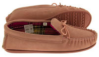 Ladies LODGEMOK SUEDE Tartan Lined Slippers Thumbnail 10