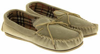 Ladies LODGEMOK SUEDE Tartan Lined Slippers Thumbnail 4