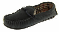 Ladies LODGEMOK SUEDE Tartan Lined Slippers Thumbnail 5