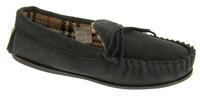 Ladies LODGEMOK SUEDE Tartan Lined Slippers Thumbnail 6