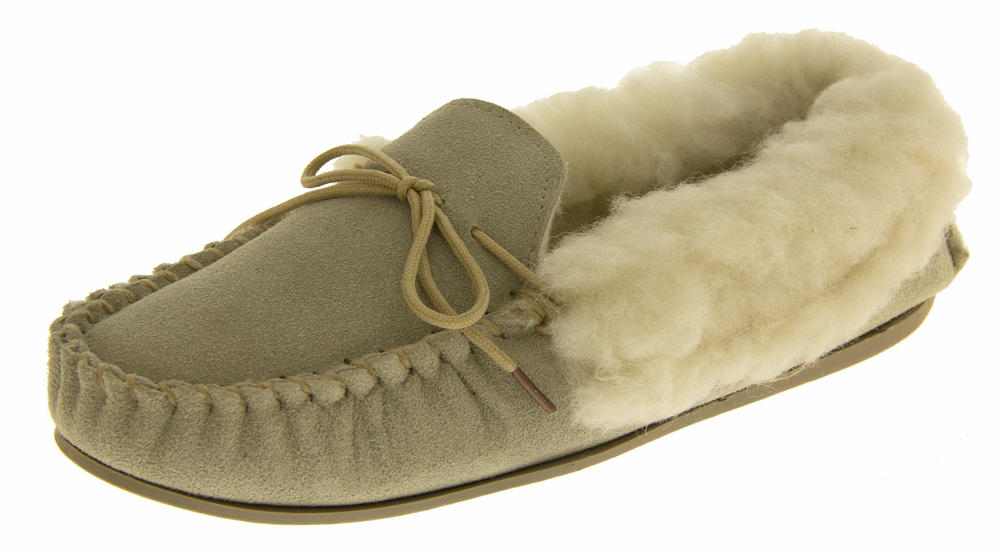 Ladies LODGEMOK SUEDE REAL WOOL Lined Slippers