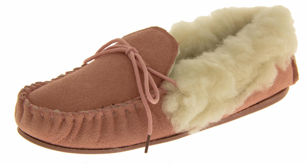 97c8484a4ff Ladies LODGEMOK SUEDE REAL WOOL Lined Slippers