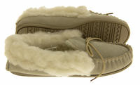 Ladies LODGEMOK SUEDE REAL WOOL Lined Slippers Thumbnail 4