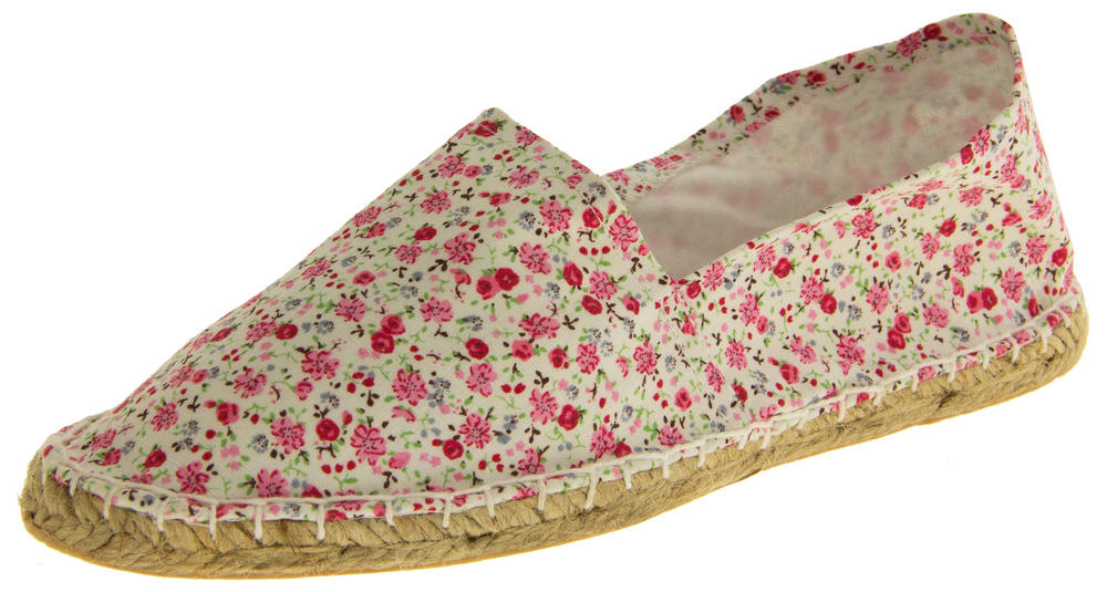 Ladies Patterned Espadrilles Canvas Casual Pumps