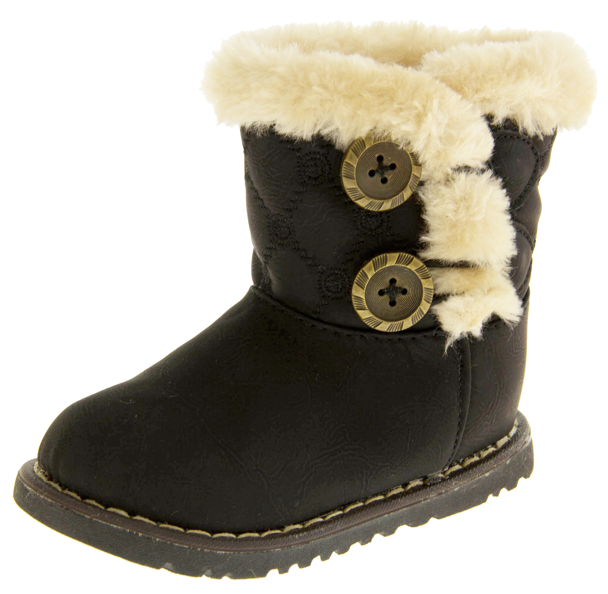 93150f7eb4da Infant Girls Fur Lined Twin Button Winter Boots