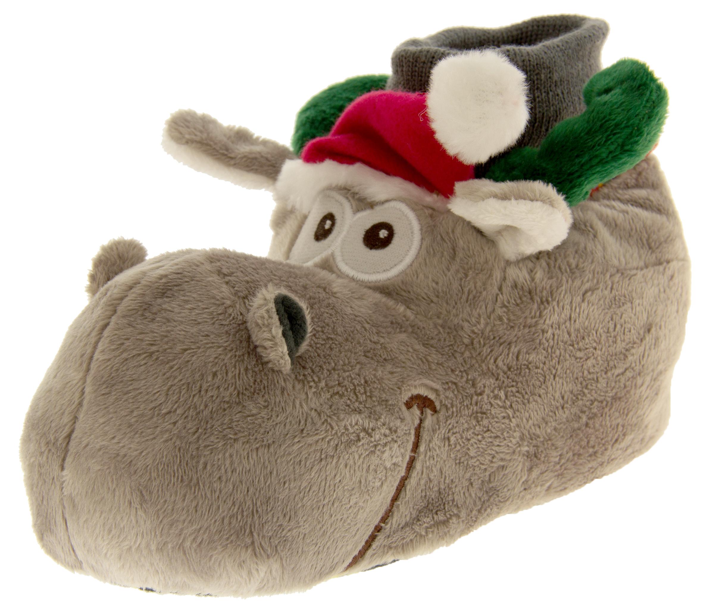 Girls Boys Christmas Novelty Slippers Funny Xmas Festive Slipper Sz ...