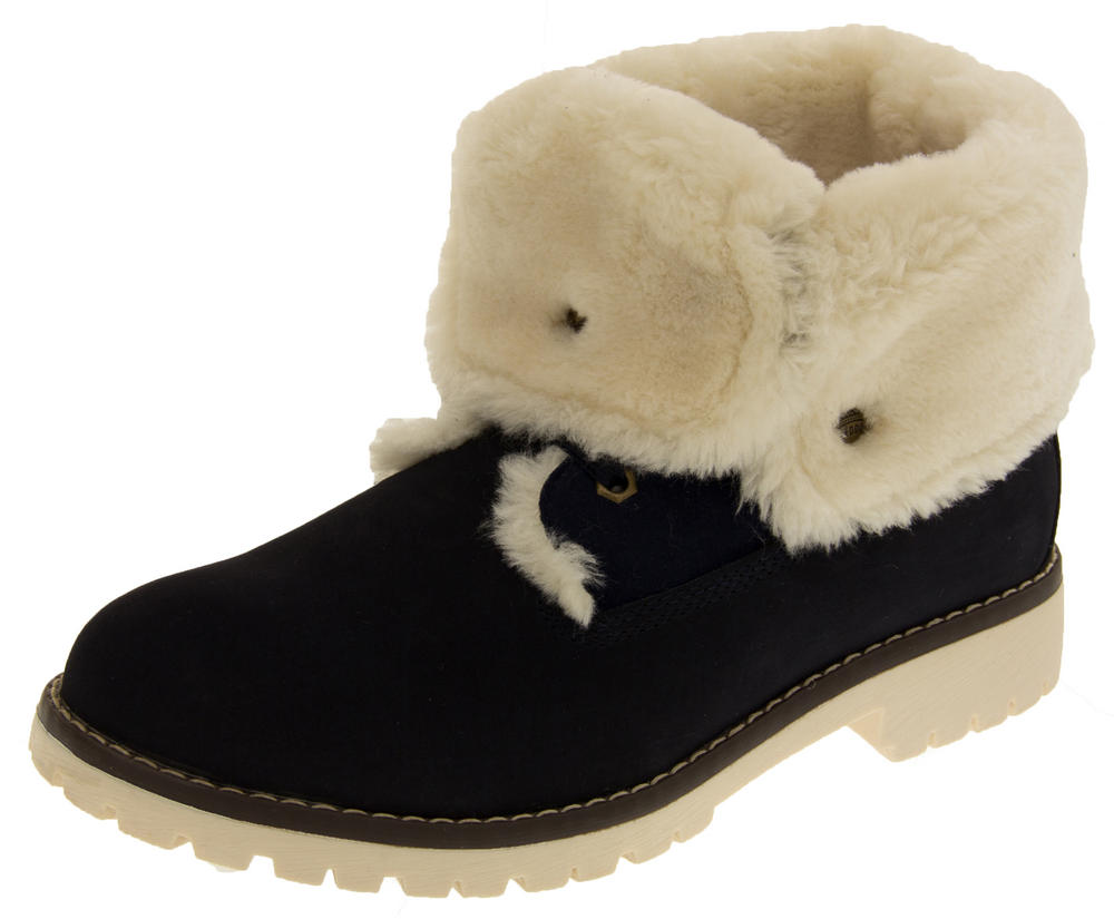 Womens KEDDO Hi Top Thick Fur Trainer Boots