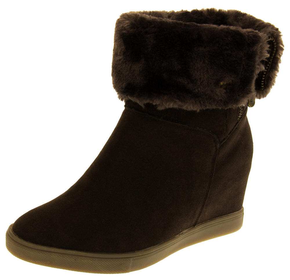 Womens KEDDO Thick Fur Lined Hidden Wedge Boots