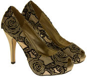 Womens Lace Wedding Formal Court Shoes Thumbnail 6
