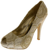 Womens Lace Wedding Formal Court Shoes Thumbnail 8