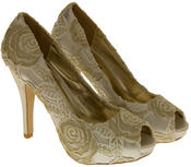 Womens Lace Wedding Formal Court Shoes Thumbnail 10