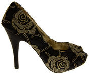 Womens Lace Wedding Formal Court Shoes Thumbnail 2