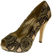 Womens Lace Wedding Formal Court Shoes Thumbnail 4