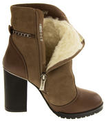 Womens BETSY REAL WOOL Lined Cuban High Heels Boots Thumbnail 6