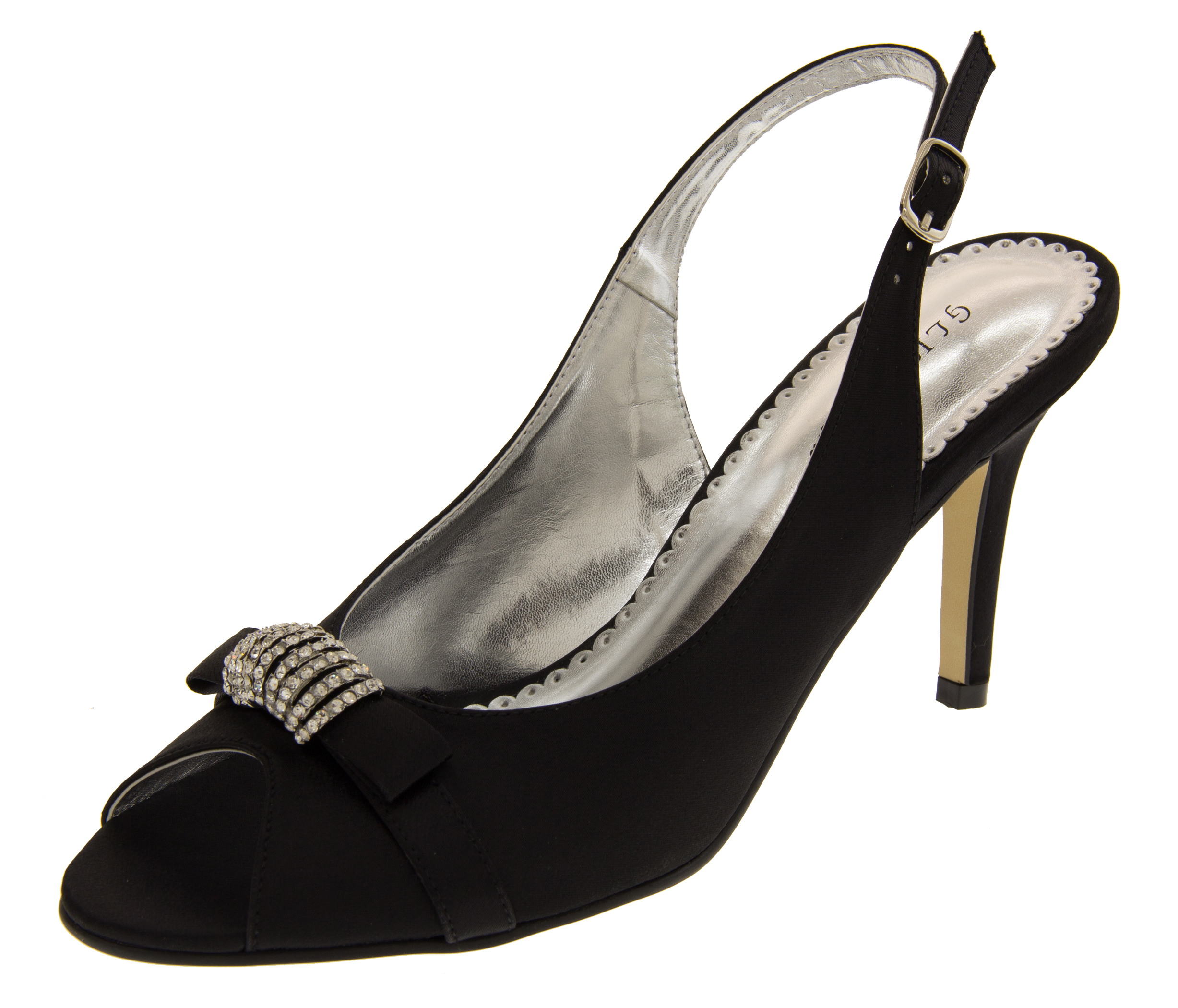 Ladies Mid Heel Peep Toe Wedding Shoes Elegant Satin Diamante Bridesmaid  Shoe